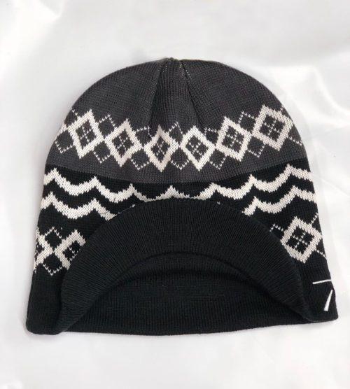 beanie-blk white+visor