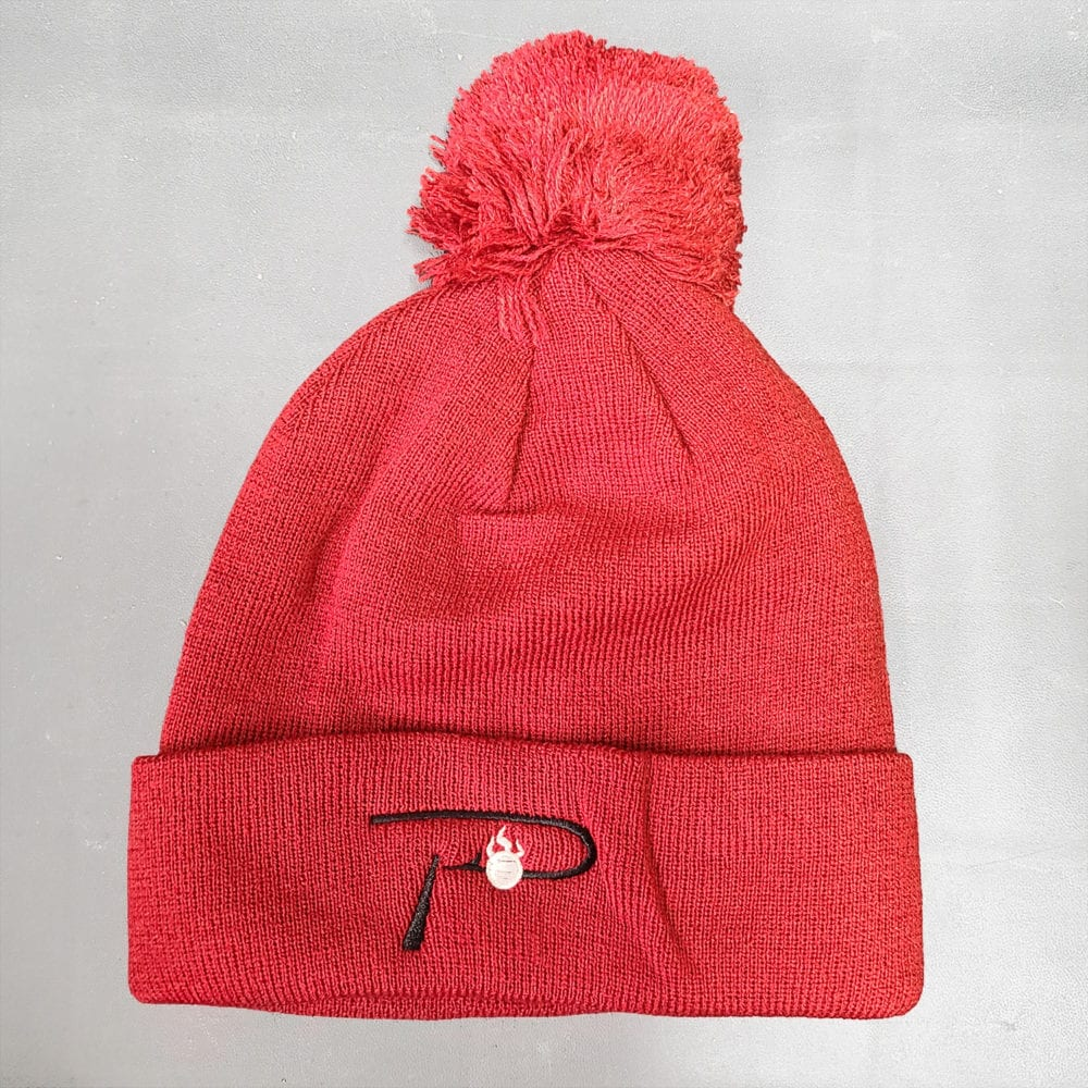 """""""P"""" White Embroidered on red Beanie"""